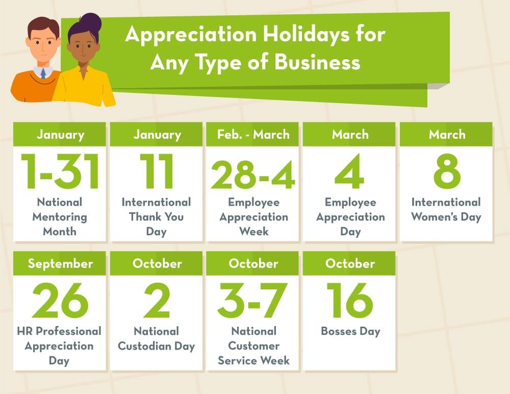 Appreciation days calendar for all business types