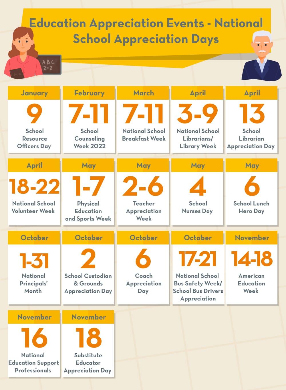 Education appreciation days calendar
