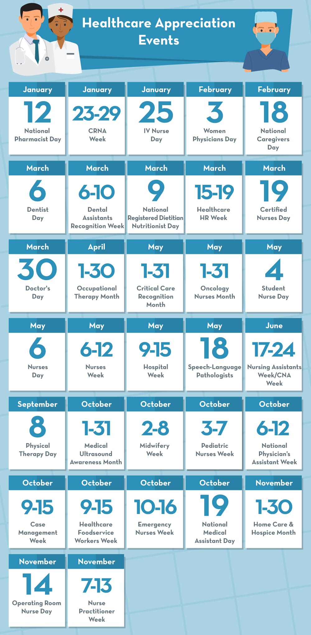 Healthcare appreciation holidays calendar