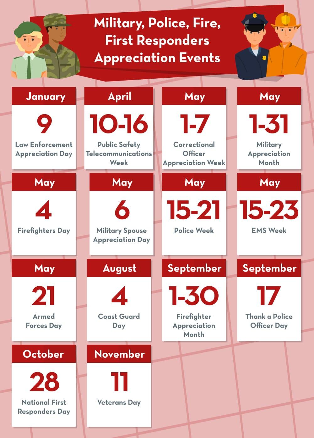 Military appreciation holidays calendar