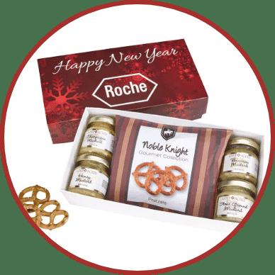 Gourmet Mustard Set with Pretzels Gift Box