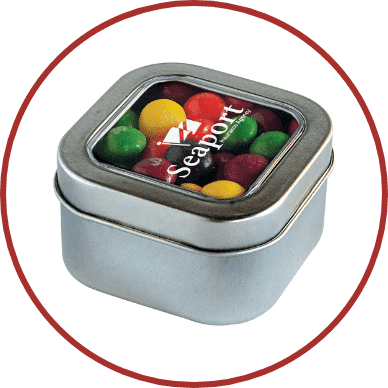 Square Candy Tin with Skittles
