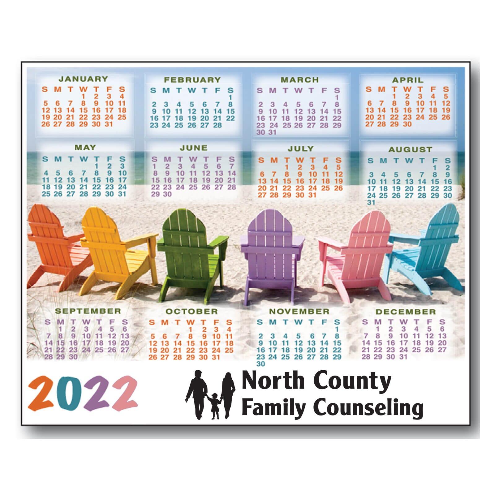 magnetic calendar with beach chair