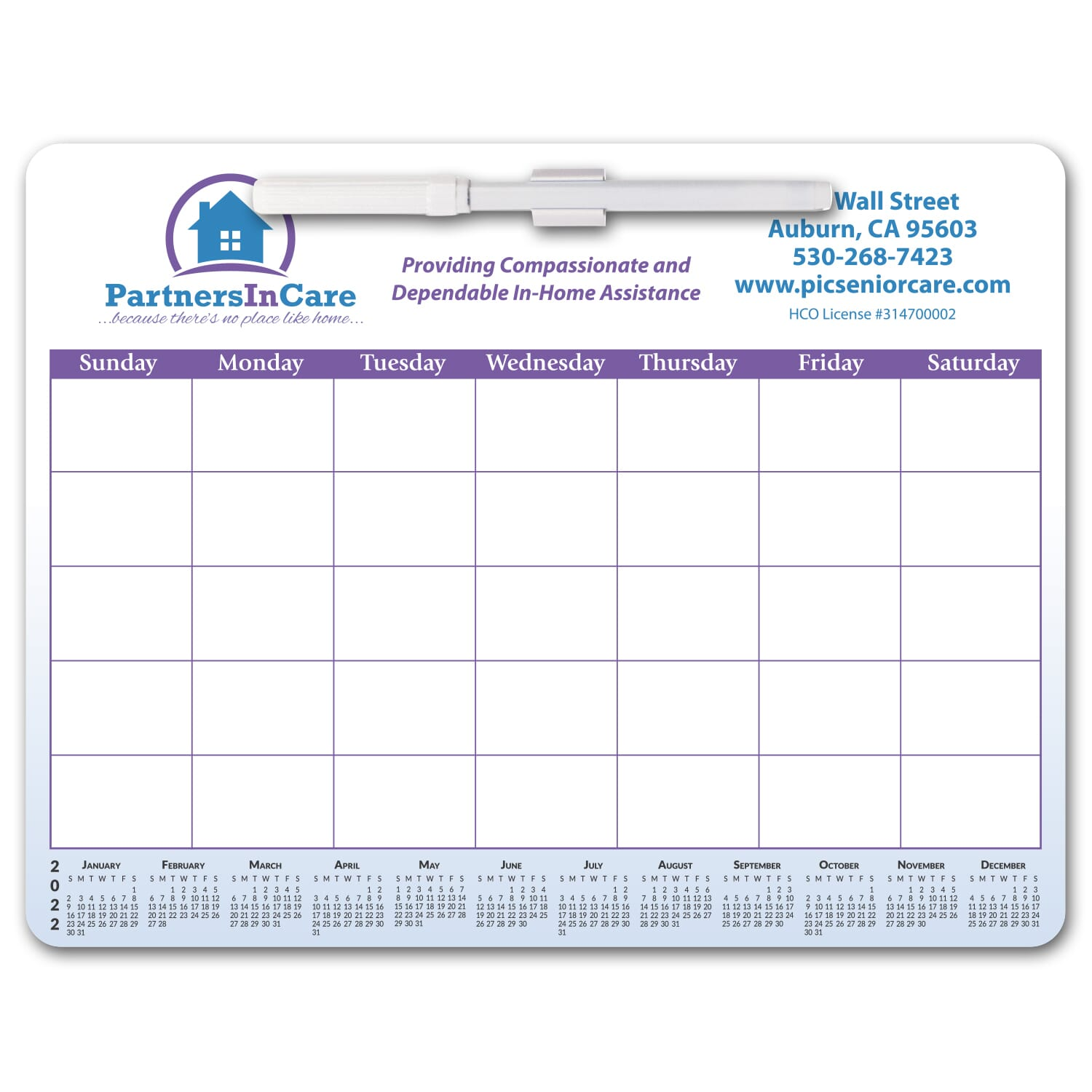 magnetic whiteboard calendar with erasable marker