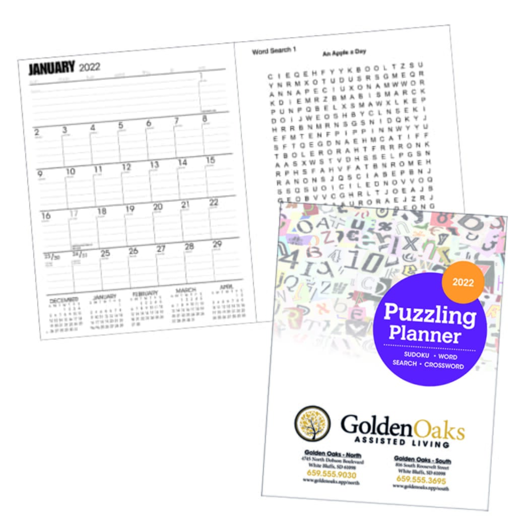 calendar planner with monthly puzzle