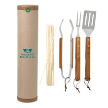 Eco friendly bbq set featuring bamboo
