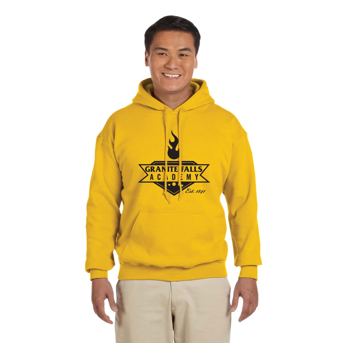 Athletic gold hoodie sweatshirt with school logo