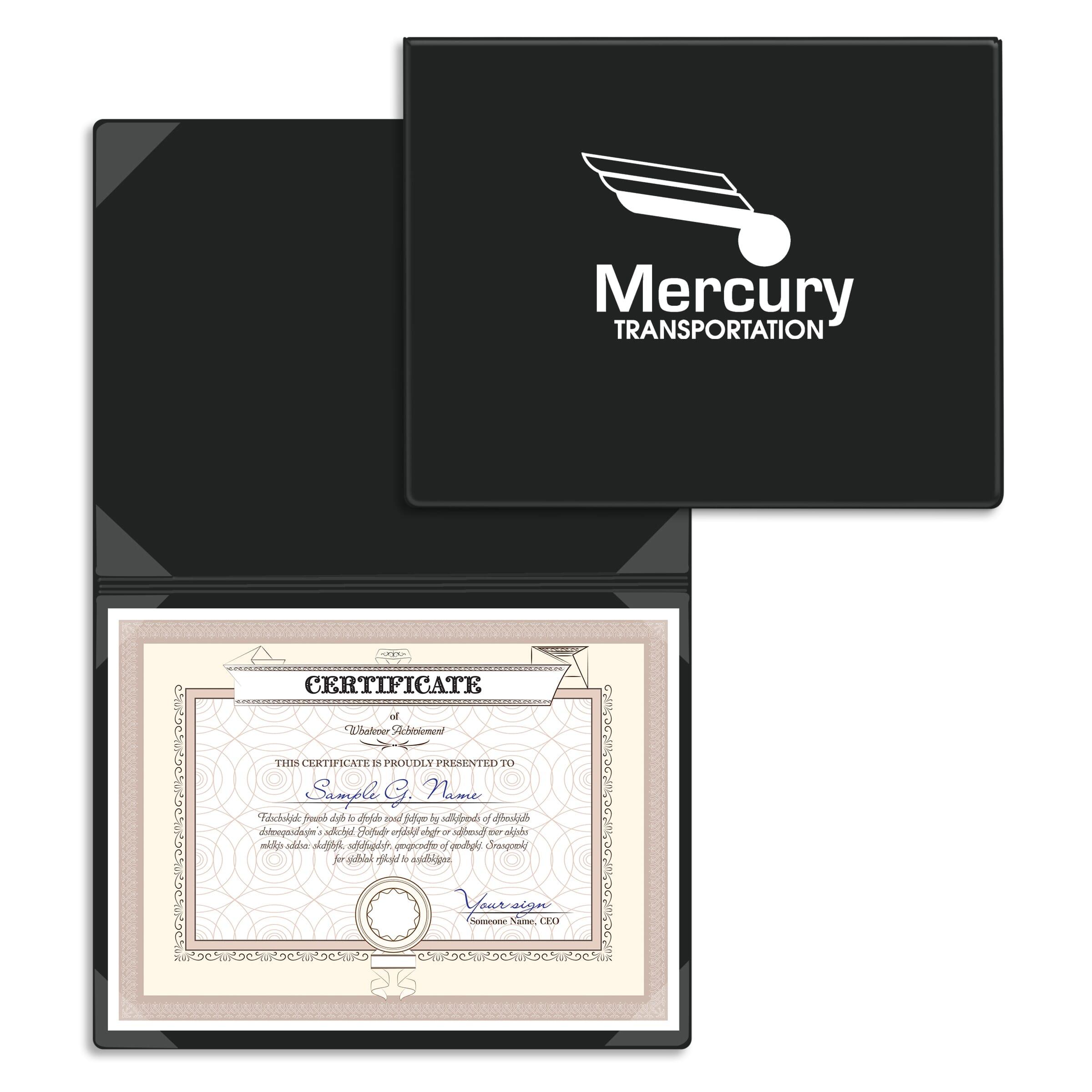 Black document folder for certificates, awards, and diplomas