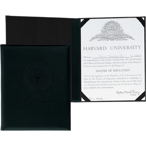 USA made black cowhide certificate holder