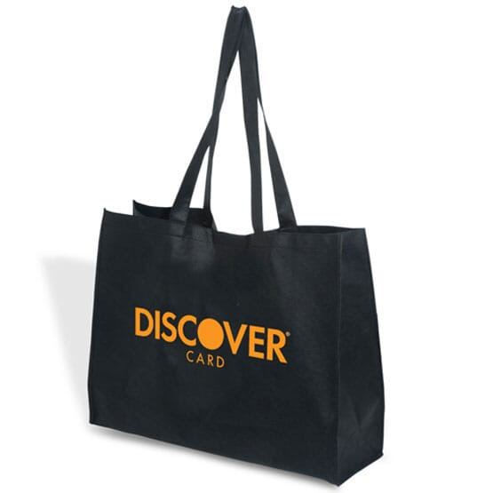 black recyclable tote bag with logo