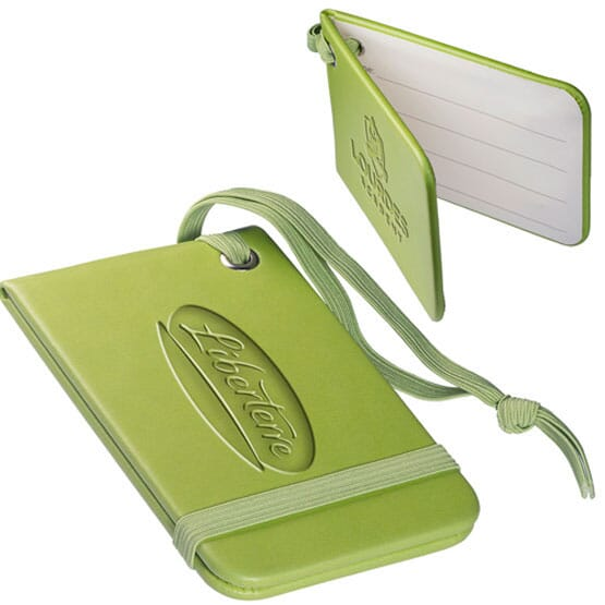 Faux leather luggage tag with debossed logo