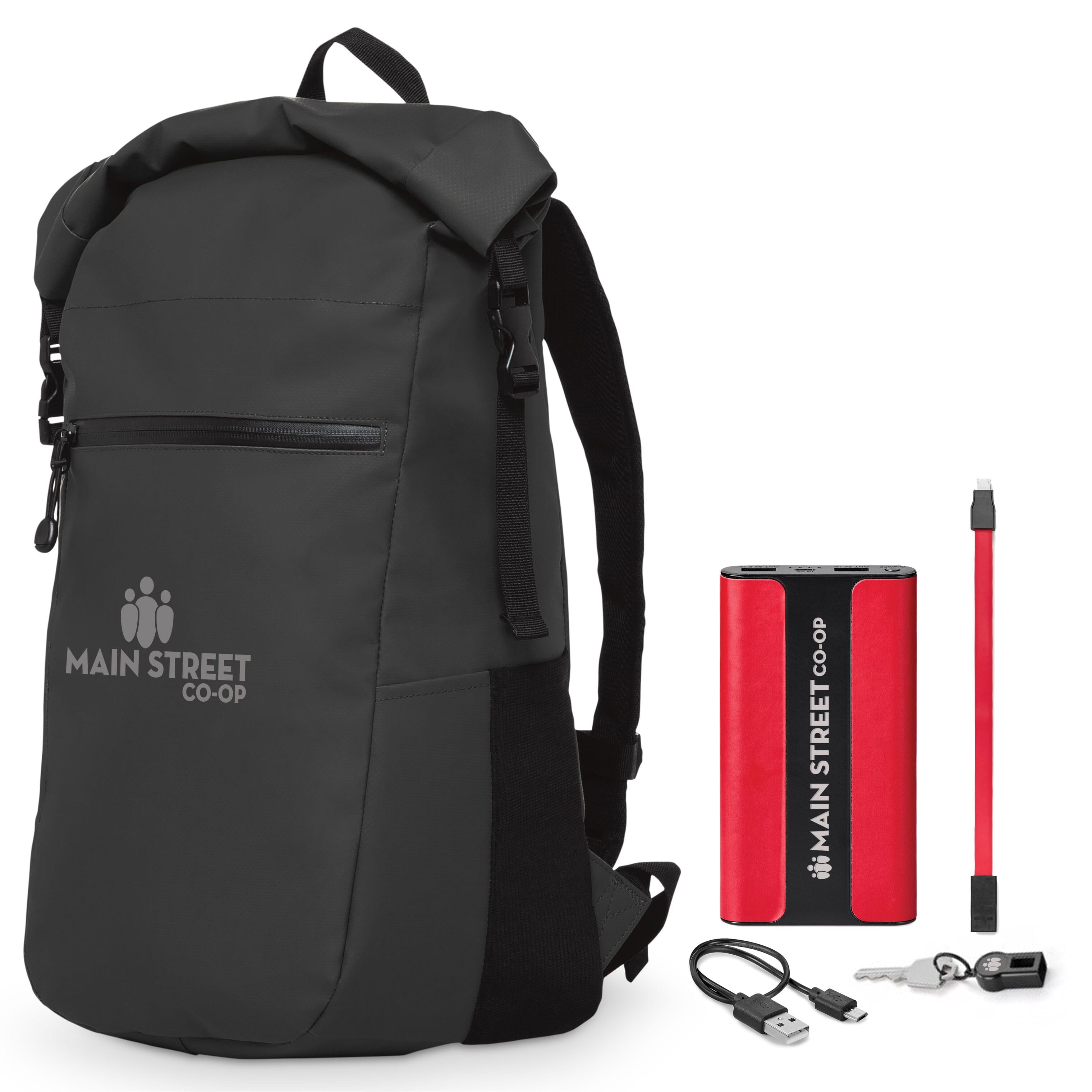 Black backpack with red power bank