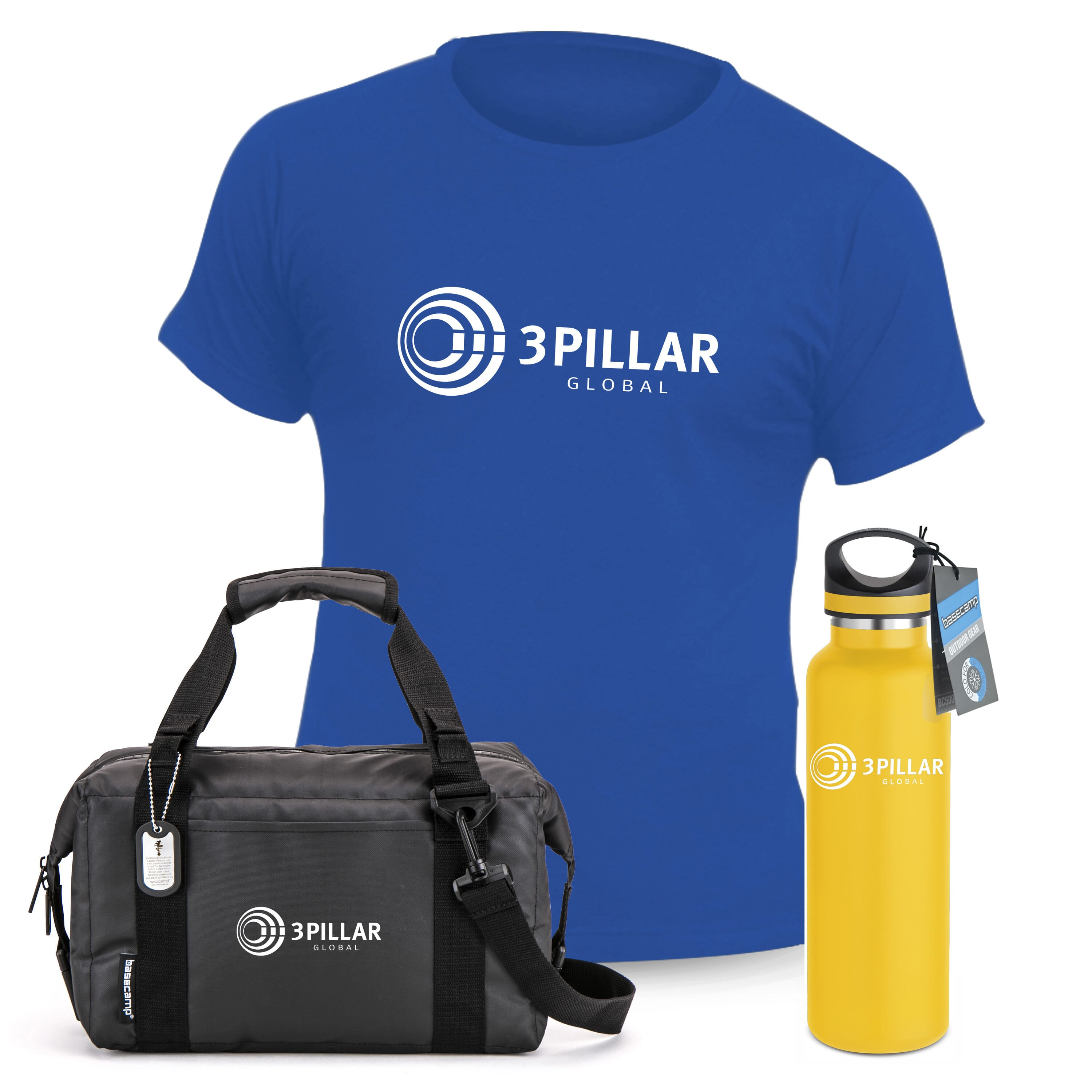 Gift set with royal blue t-shirt, yellow water bottle, and black bag