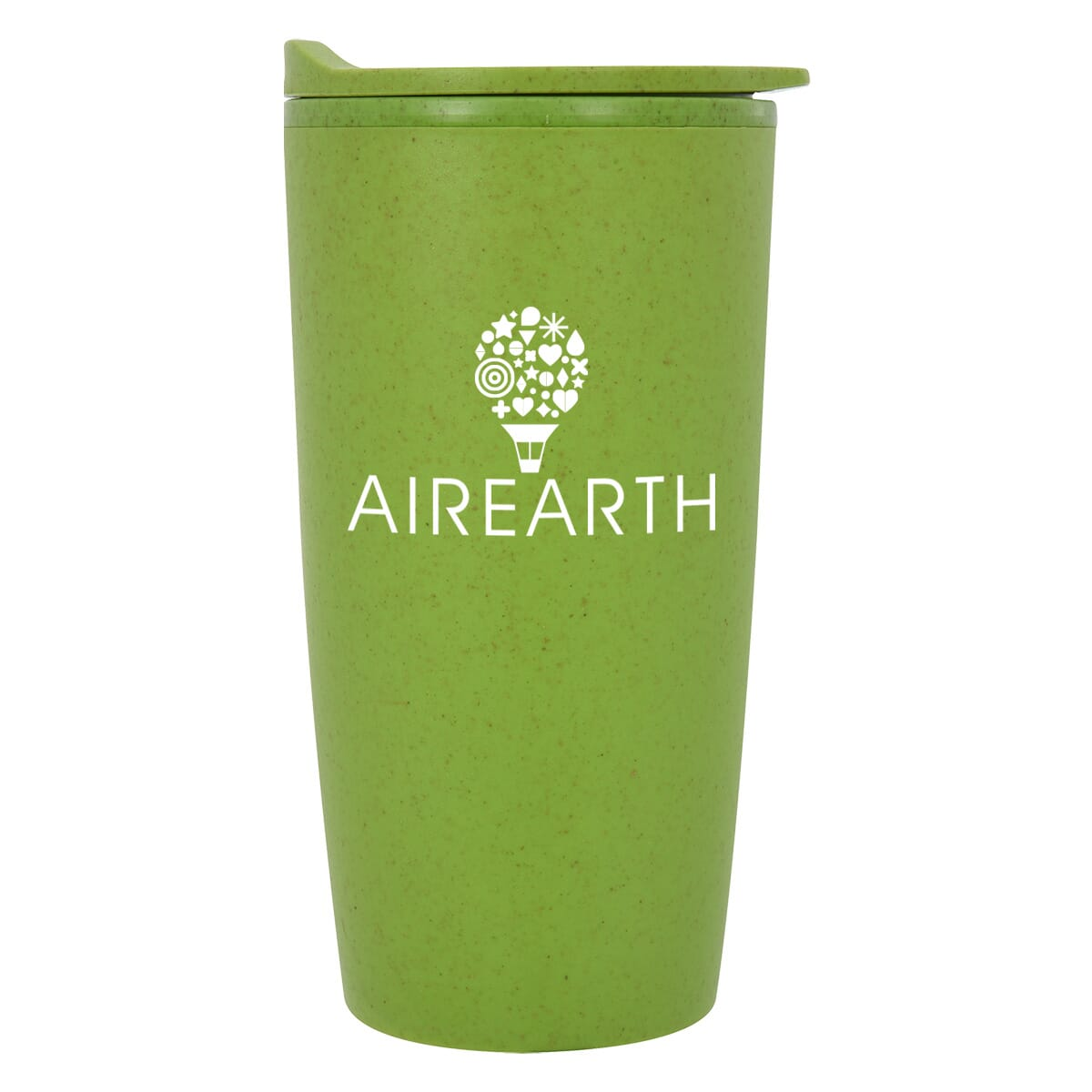 green travel mug made of eco friendly wheat material
