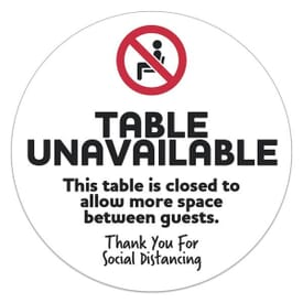 Social Distancing Table Sticker Circle - Table Unavailable