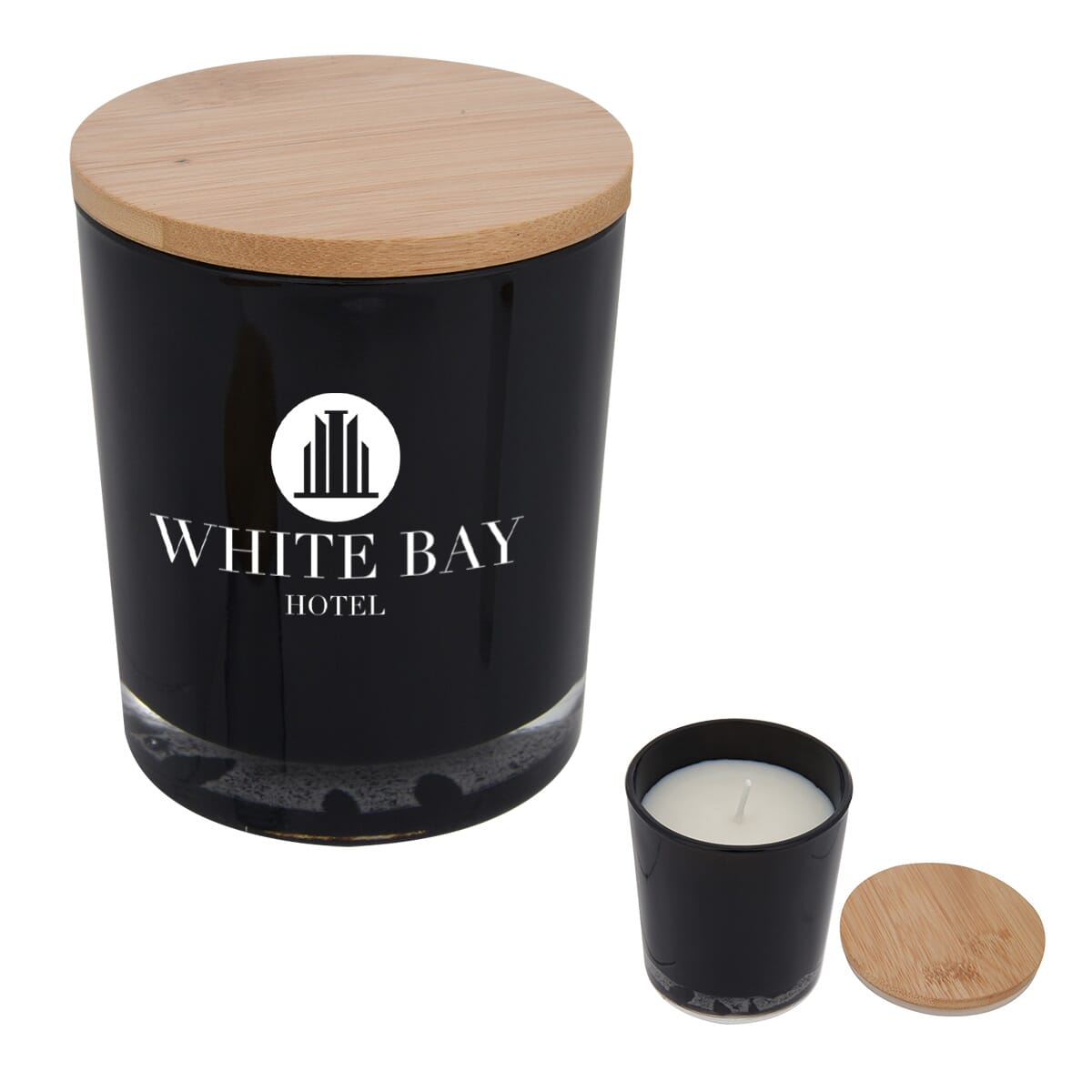 soy candle in glass container with bamboo lid