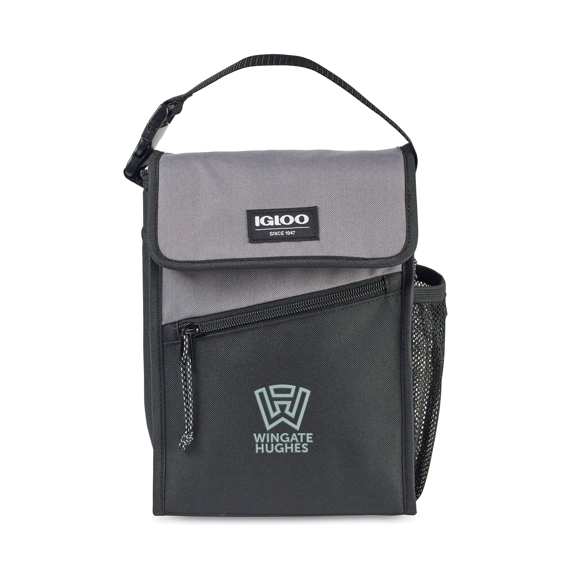 gray and black igloo inslated lunch bag