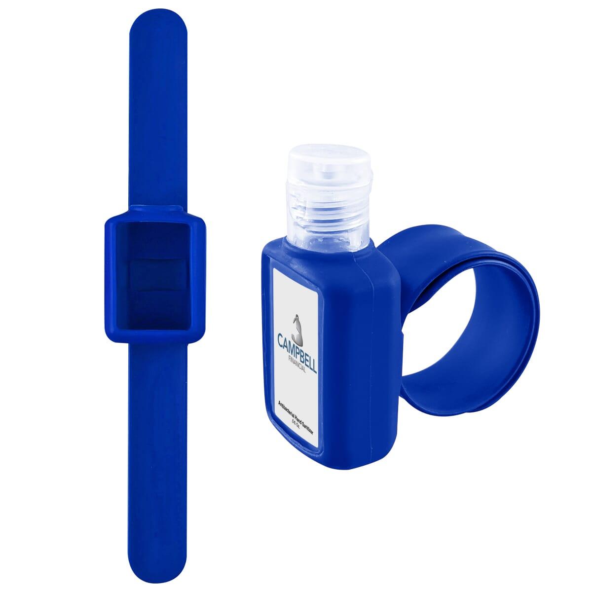 Hand sanitizer with slap bracelet